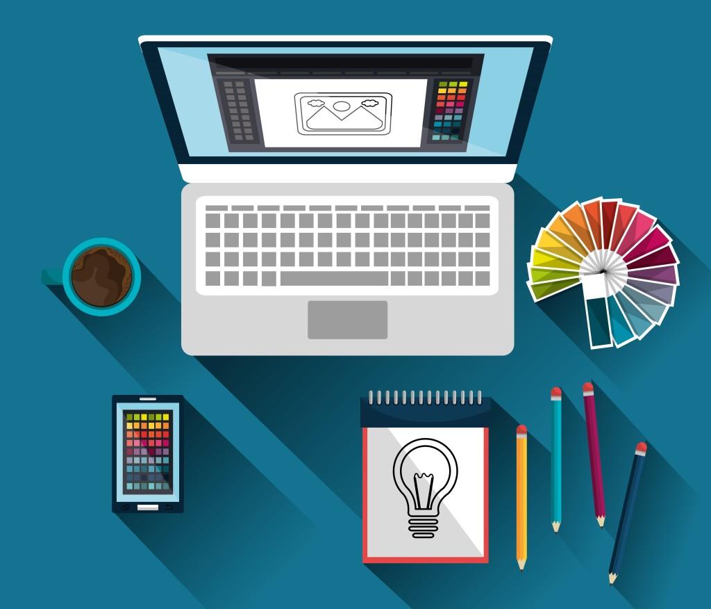 laptop with graphic design program