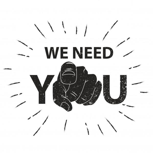 Image saying we need you.