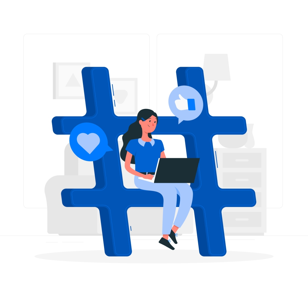 woman sitting on a hashtag