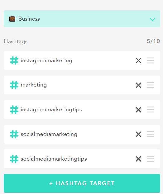 choosing hashtag targets