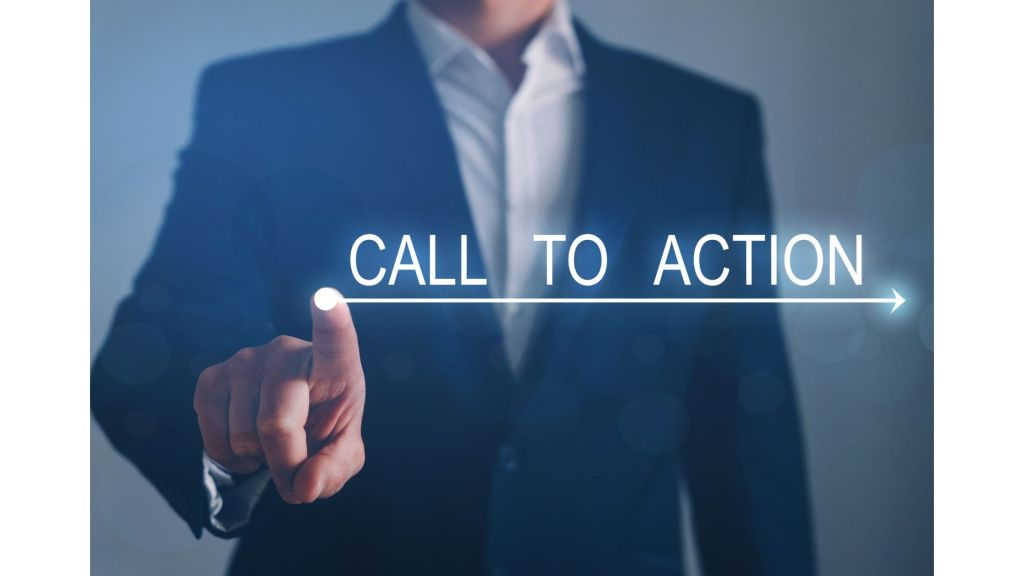 Man touching a glowing call to action title