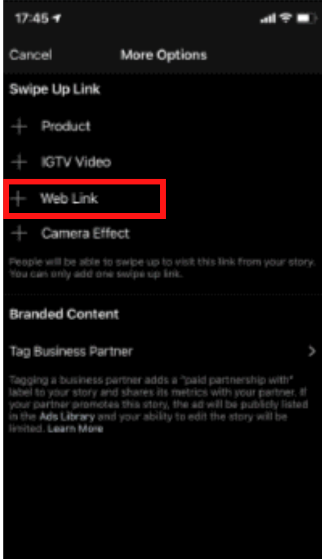 How to add a website link to an Instagram story