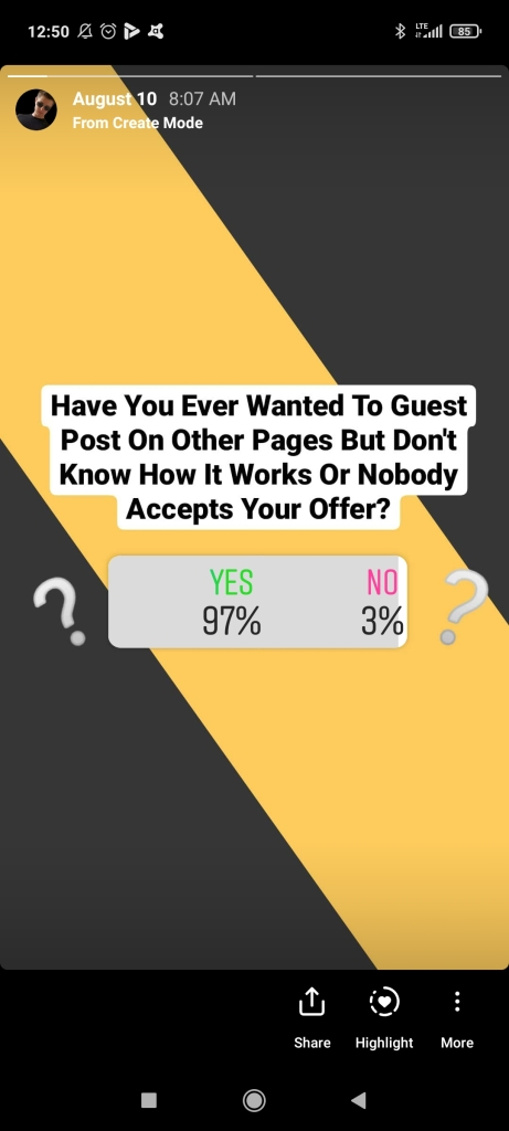 Creating a poll in Instagram stories to discvoer more about target audience