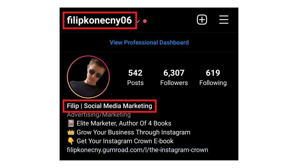An example of a username and a headline on my Instagram profile