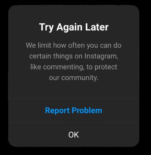 Instagram action block message